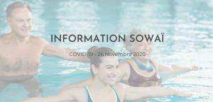 """Image d'aquasport sur laquelle est affichée : """"Information Sowaï COVID-19 : 26 Novembre 2020"""""""