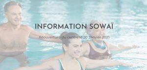"""Image d'aquasport sur laquelle est affichée : """"Information Sowaï - Réouverture du centre le 20 Janvier 2021"""""""